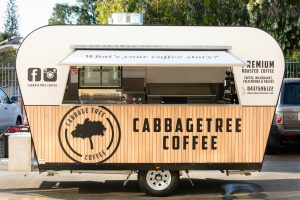A side view of the completed food trailer for Cabbage Tree Coffee.