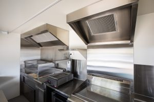 Inside view of the Kerbside Feast food truck's kitchen.