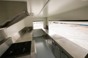 Inside view of House of Harvey's catering van.