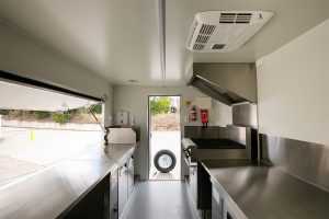 Inside view of House of Harvey's catering van.