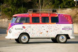 Side view of Synergy's Kombi coffee van.