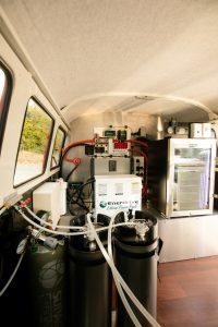 Inside view of Synergy's Kombi coffee van.
