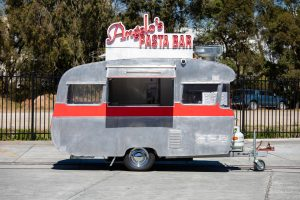 Side view of Angelo's pasta bar caravan.