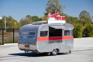 Side view of Angelo's pasta bar caravan.