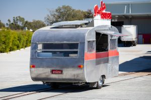 Rear view of Angelo's pasta bar caravan.