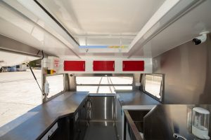 Inside view of Angelo's pasta bar caravan kitchen.