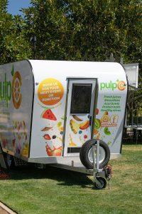 Rear view of Pulp Juice Co's juice van.