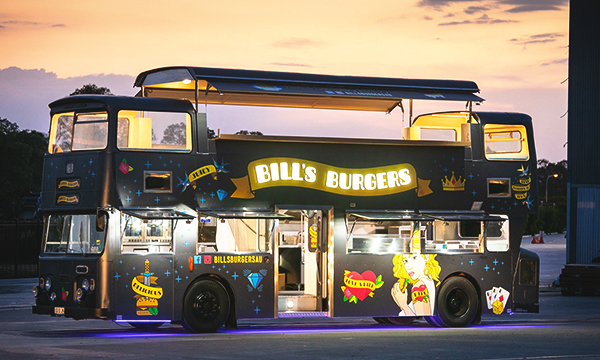 Side view of the Bills Burgers Bus.