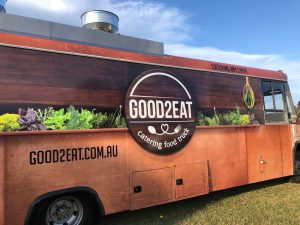 Rear view of the Good2Eat Catering bus.