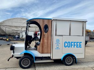 Side view of the Bolwell Brew coffee cart.