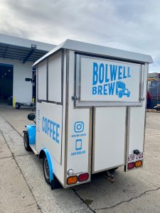 Rear view of the Bolwell Brew coffee cart.