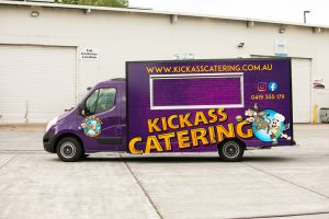 Side view of the Kickass Catering truck.