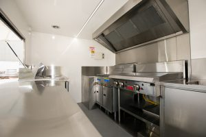 Inside view of the Kickass Catering truck kitchen.