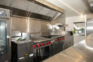 Inside view of the Yum Yum Afrika catering trailer kitchen.